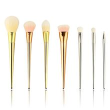 New Arrive 7 pcs Silver Synthetic Makeup Brush Set Cosmetics Foundation blending…