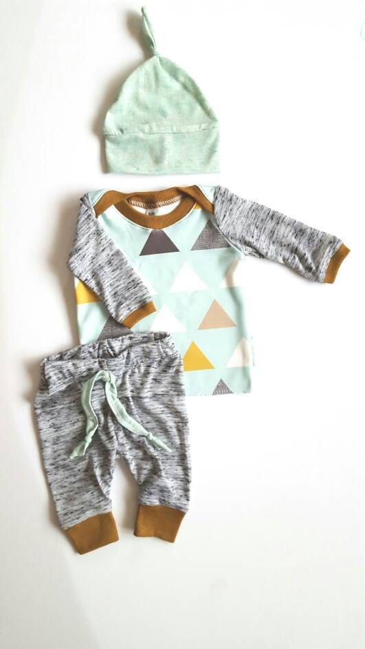 Baby boys mint triangles outfit set. Coming home by BabyNell
