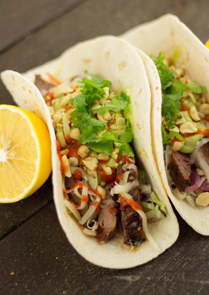 Thai Tacos with Beef Flank Steak