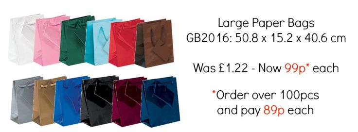 *Special Offer* Large Paper Shopping Bags only 99p each, or 89p each if you order over 100pcs. Offer ends 15.06.15.