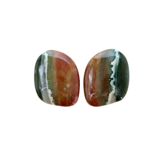 Ocean jasper pair of fancy cut cabochons by SARAHHUGHESfinegems