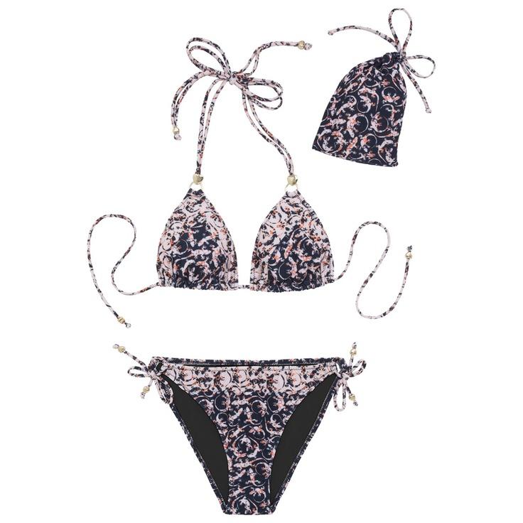 Mulberry - Triangle Bikini in Light Berry Cream Mini Gecko Print