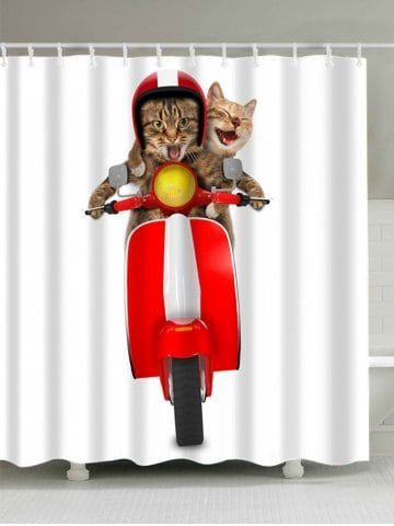 3D Cats Riding Motorcycle Shower Curtain BedroomCurtainsWithBlinds