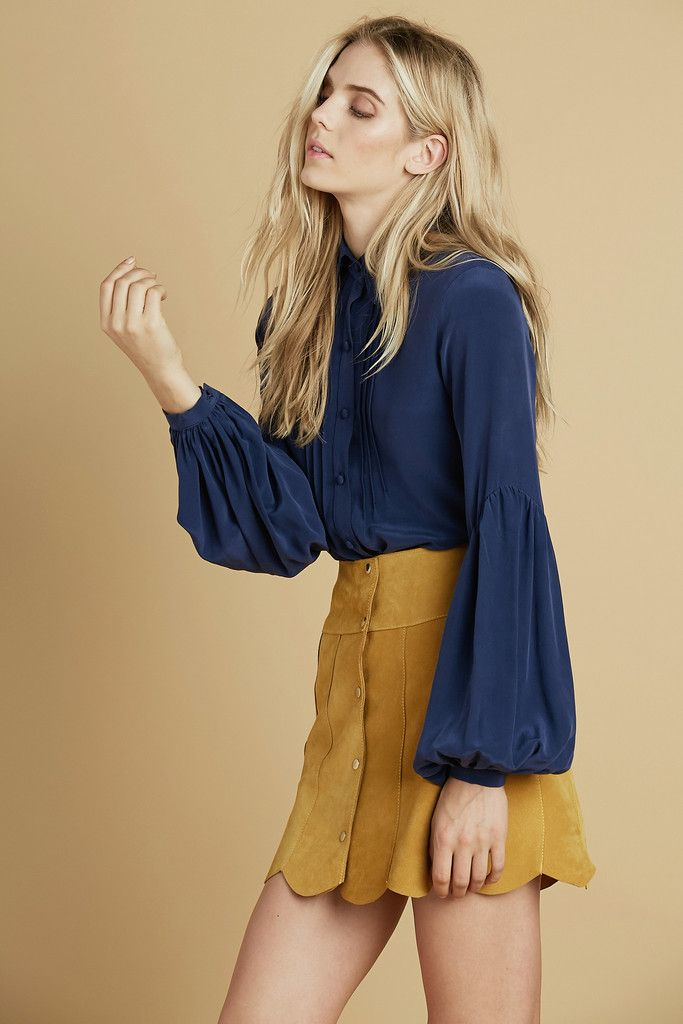 Secretary Silk Blouse in Navy – Stoned Immaculate Clothing