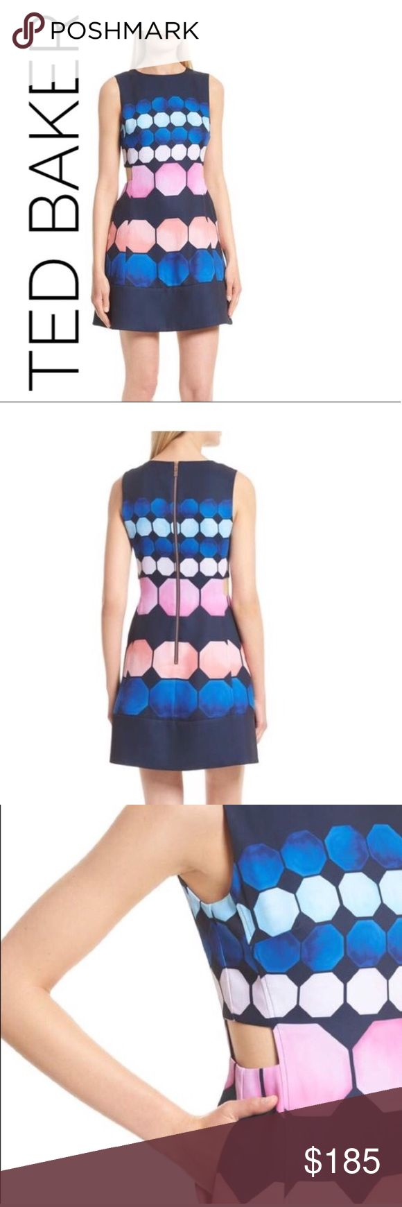 NWT Ted Baker SEELIAH Marina Mosaic cut-out dress Flat lay bust 18 inches in measurements! Please note that a ted baker size 4 is a US 10 Please see Ted Sizing Chart last picture! Flirty cutouts at the sides update a short A-line dress that turns heads with an eye-popping octagon print washed in pretty pink and blue tones! Sold out at Nordstrom!!!!!! priced lower than the Ted Backer Website!!! Ted Baker London Dresses