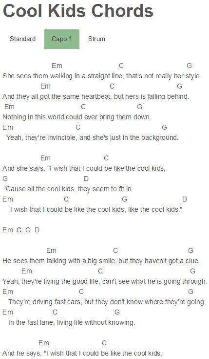 Cool Kids Chords Echosmith