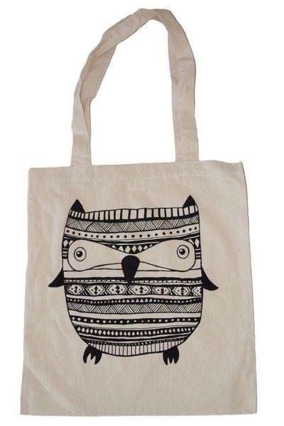 Jutebeutel - Baumwoll-Tasche // Jute-Tasche // Eule // Aztec - ein Designerstück von annisfabrik bei DaWanda