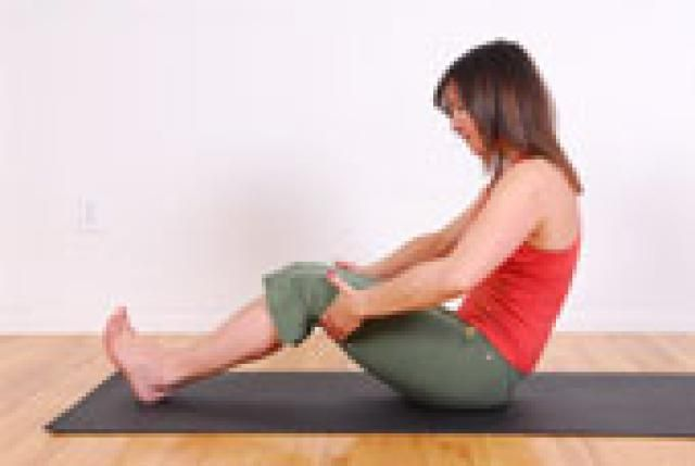 Dynamic Stretching Exercises: Supported Roll Back Sit tall on your sit bones with your knees bent and feet on the floor. Place your hands behind your thighs.  Lift your belly in and up to deeply curve your spine (that will bring your tail under and upper body forward). Use your abdominal muscles do a controlled the roll back of the torso as it is in a deep curve. Your shoulders stay down and your hands can help support the roll back. Deepen the scoop of the belly to roll for