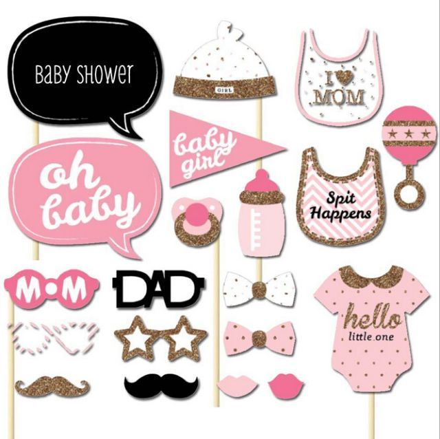 Beautiful 20pcs Baby 1St Shower Party Baby Bottle Masks Photo Booth Props On A Stick  Favor