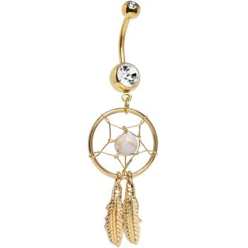 Gold Plated Crystalline Gem Dreamcatcher Belly Ring | Body Candy Body Jewelry #bodycandy #piercings #bellyring