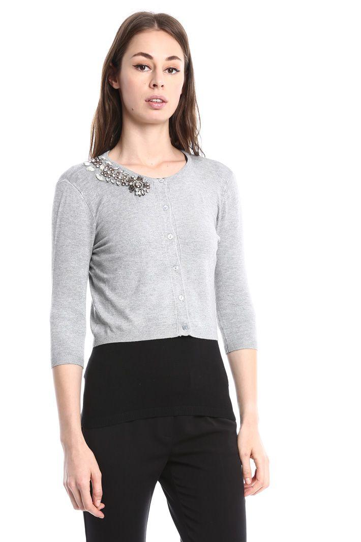 e71149e4151280 Cardigan con ricamo gioiello, grigio - Diffusione Tessile 55 | f/w ...