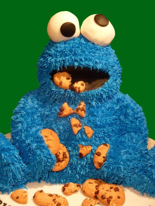 Cookie Monster Cake- This is a super cute cake but the opto in me feels bad for his extreme hyperphoria.  :)