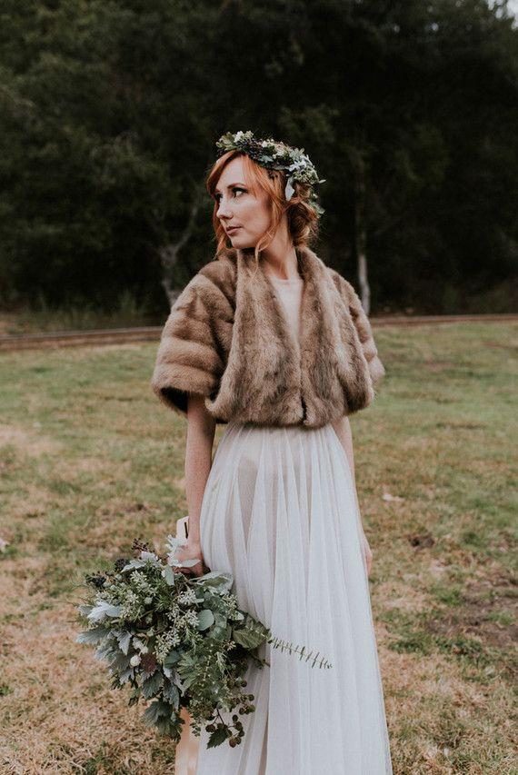 Fur bridal shawl