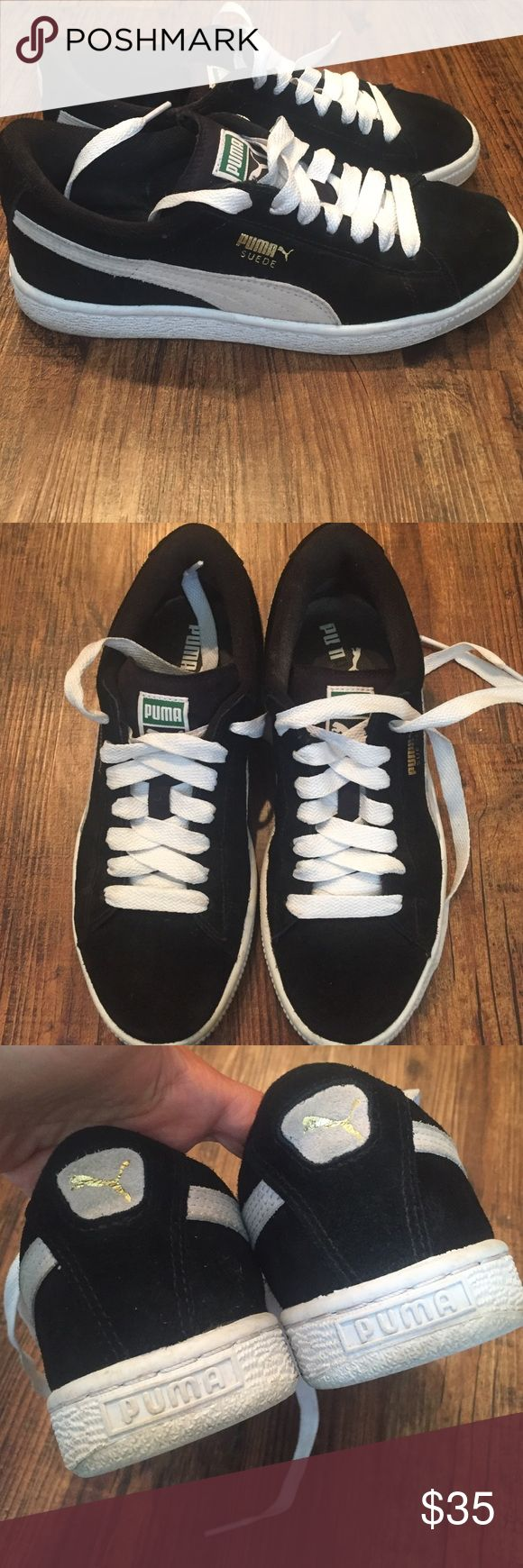 Black sued Puma shoes Only worn a few times, great condition. No pp or trades. Women's size 7. Puma Shoes Sneakers