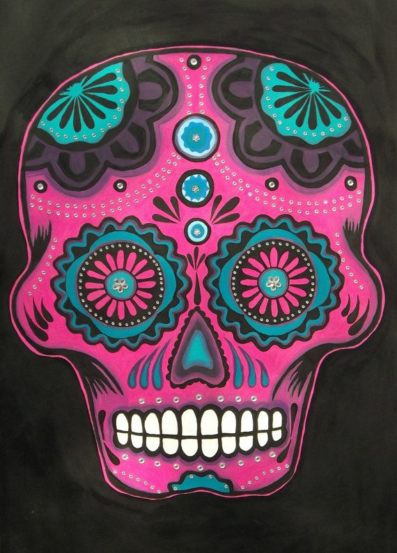 Original Acrylic Sugar Skull Painting on Wood  by ArniesArtwork, £370.00