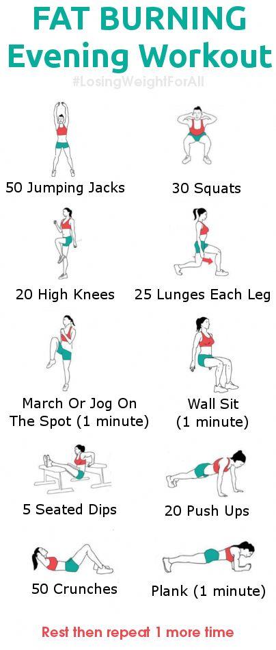 Weight Loss Infographics: Fat Burning Evening Workout fatlossworkouts