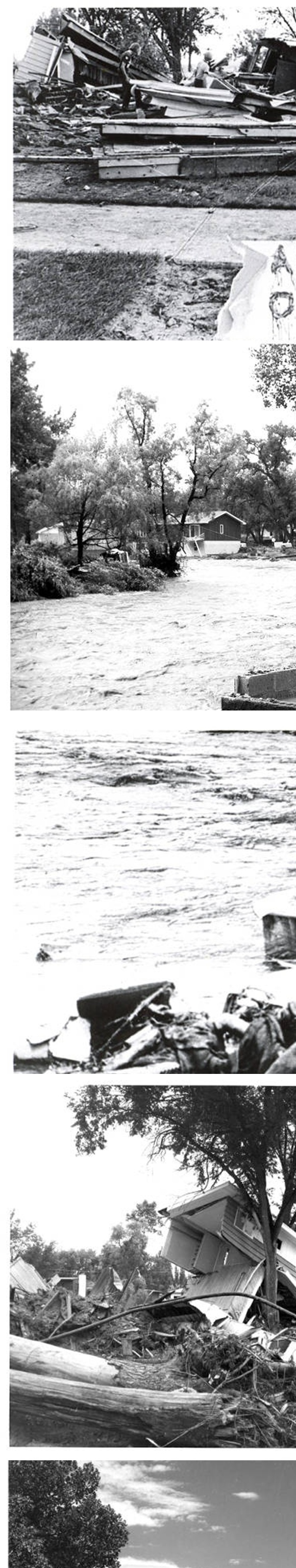 The Black Hills Flood of 1972 Image Montage. In a 6-hour time frame on June 9, 1972, a rush of water poured through Rapid City and canyons in the surrounding area, destroying homes, vehicles, businesses, bridges, and claiming 238 lives. Rapid Creek overtopped its banks at 10:15 p.m..  A short time later, Mayor Don Barnett urged the evacuation of all low-lying residential areas.  Canyon Lake Dam failed at 10:45 p.m., adding to the flood waters.