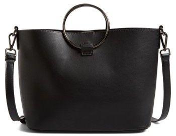 Street Level Metal Handle Faux Leather Crossbody Bag - Black
