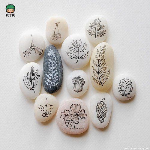 非常清新的石头画 卵石画图片-创意生活,手工制作╭★肉丁网