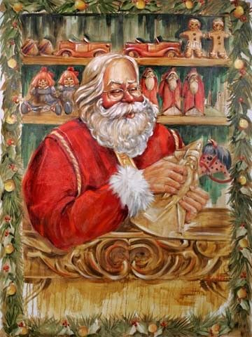 Wood Carver Santa | Celia Meadors Art - Amarillo, Texas