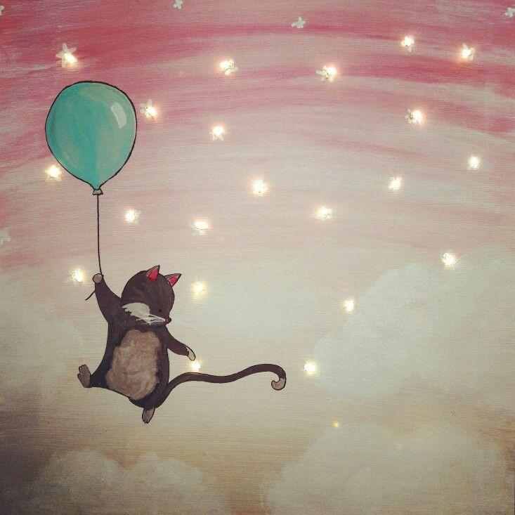 Le chat au ballon. Tableau lumineux
