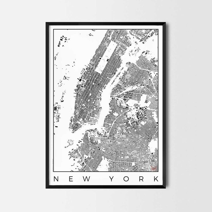 New York schwarzplan map art city posters. Unique interior decor idea for offices art posters or kitchen art prints.  Minimalist city art gifts for travelers as framed art or canvas wall art. Urban plan map style. print, poster, gift | CityArtPosters.com