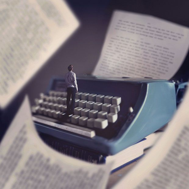 A Photographer's Adorable Self-Portraits in a World of Giant Books and Typewriters