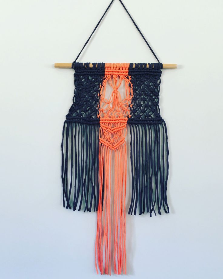 Grey and Coral recycled t-shirt/tshirt yarn handmade macrame wall hanging by waffleandweave on Etsy