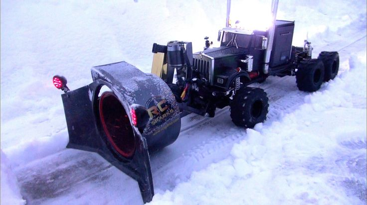 RC ADVENTURES - RC Rotary Snow Plow / Snow Mover (Test 1 - Night Time)