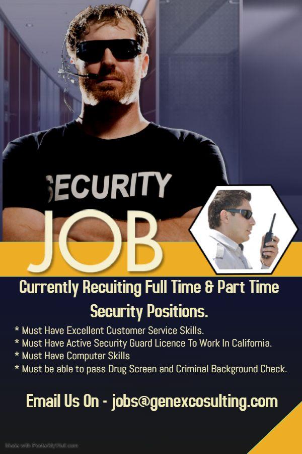 Now Hiring Job Opening Security Guard Drug Screening