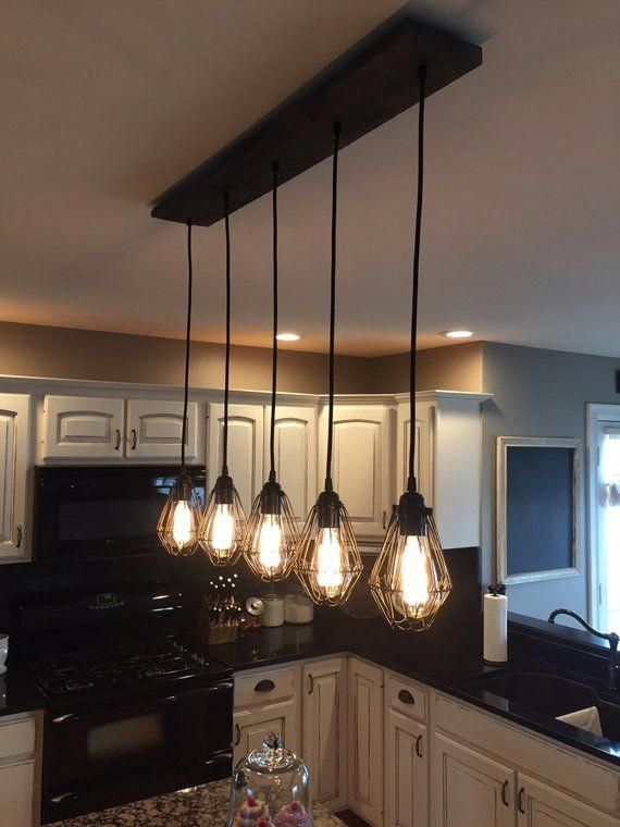 Industrial Modern Reclaimed Wood Chandelier 5 Pendant Light Chandelier Lighting Rustic Kitchen Lighting Kitchen Island Lighting Rustic Kitchen