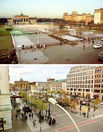 Touristenmagnet: Die Bildkombo zeigt den abgesperrten Pariser Platz mit dem Brandenburger Tor in Berlin im Herbst 1989 und den Platz 2014.