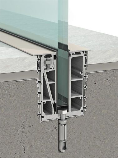 Sistema de fijación de aluminio / para paneles / de barandilla / perfiles de fijación - B - Clear glass