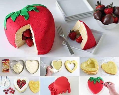 bonjour aujourd hui je vous propose une RECETTE DU CAKE + un cake Surprise en forme de FRAISE GEANTE fourrée de fraises ou de bonbons la pate à sucre est colorée en fonction du gateau RECETTE DU CAKE aux citrons ou agrumes il faut des MOULES de meme taille...