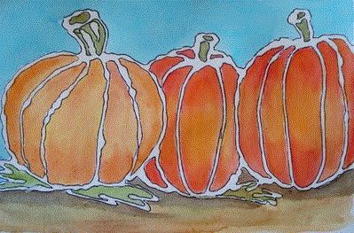 1. Draw pumpkins with glue.  2. Use water colors to paint the colors.   Beautiful!
