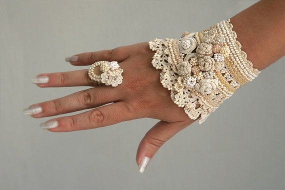 Crochet cuff and crochet ring in cream color by ellisaveta on Etsy, $116.00