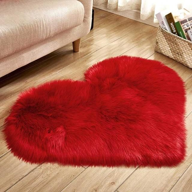 Heart Shaped Faux Fur Rugs For Home Fluffy Rug Rugs On Carpet Plush Carpet