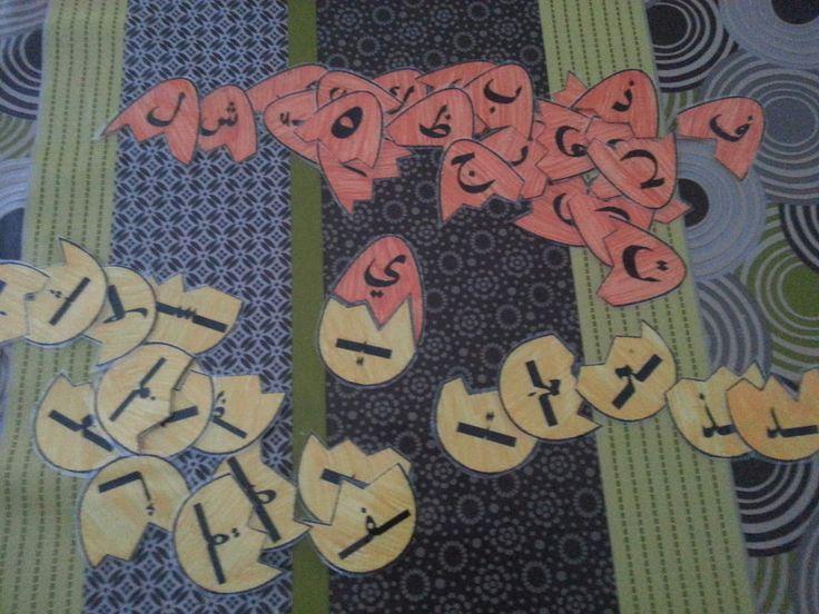 Des oeufs en puzzle, sur la partie du haut de l 'oeuf se trouve la lettre initial ,puis ,sur la partie du bas se trouve la lettre en milieu de mot.