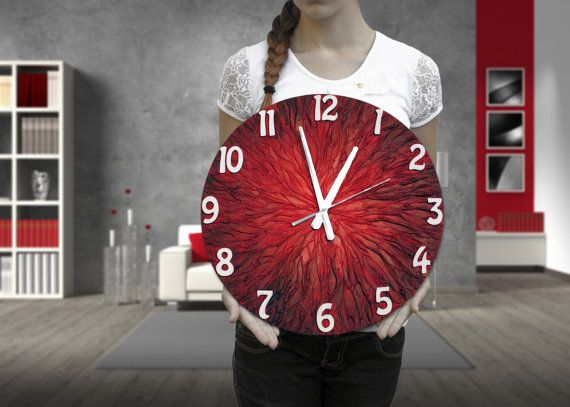 #clock #design #homedecor #red Large WALL CLOCK Unique clock Modern wall clock by PilipArt