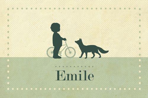 Geboortekaartje Emile - voorkant - Pimpelpluis - https://www.facebook.com/pages/Pimpelpluis/188675421305550?ref=hl (# vintage - retro - eenvoudig - jongen - vos - fiets - dieren - origineel)