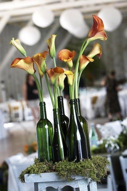 wine bottle centerpieceIdeas, Calla Lilies, Calla Lilly, Wine Bottle Centerpieces, Wine Bottles, Wedding Centerpieces, Flower, Center Piece, Winebottle