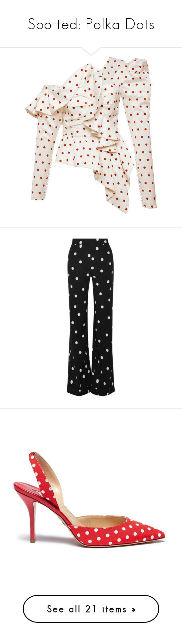 """""""Spotted: Polka Dots"""" by polyvore-editorial ❤ liked on Polyvore featuring PolkaDots, tops, white asymmetrical top, striped peplum top, asymmetric tops, white frill top, peplum top, bags, handbags and tote bags"""