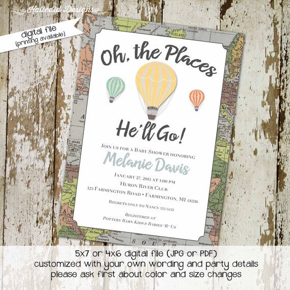 oh the places you will go invitation map baby shower hot air balloon