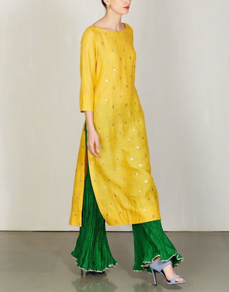 Yellow Badla Kurta with Sharara-Lajjoo C- img2