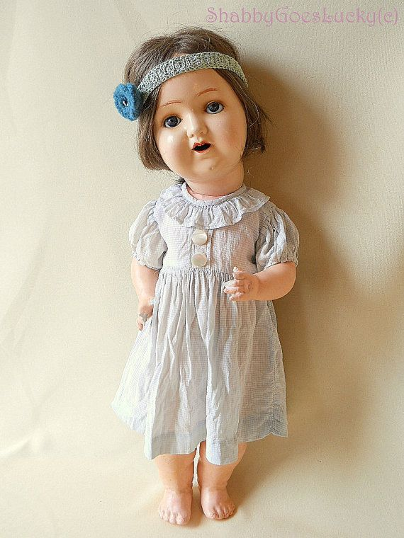 Antique German composition doll 1920s marked M by ShabbyGoesLucky, €180.00