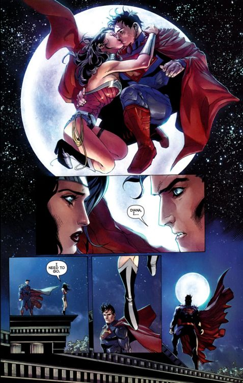 Superman     Wonder Woman and Superman after the kiss. Justice League #13