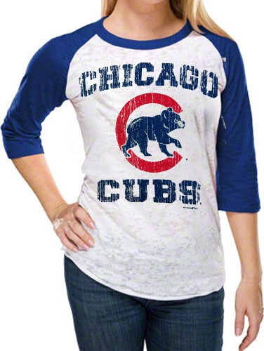 Chicago Cubs Women's Burnout 3/4 Sleeve White/Royal Raglan T-Shirt by 5th & Ocean (3.22.12)