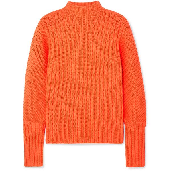 Victoria, Victoria Beckham Wool turtleneck sweater found on Polyvore featuring tops, sweaters, orange, orange sweaters, red sweater, red turtleneck sweater, thick wool sweater and red top