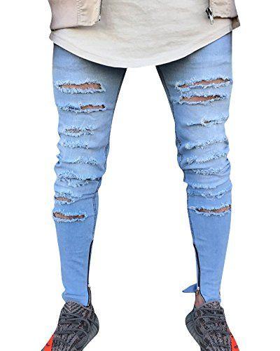 13988cda973e1 Hombre Skinny Delgado Denim Pantalones Vaqueros Destruido Rotos Tejanos  Pantalón