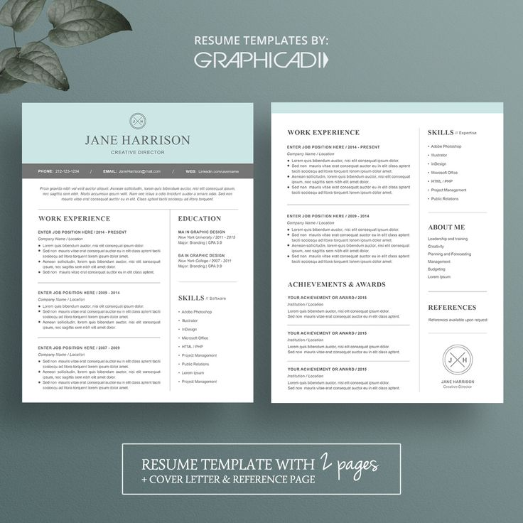 modern 2 page resume template with cover letter and reference page for microsoft